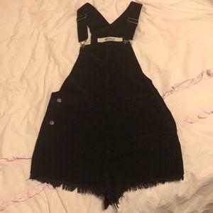 Corduroy Black Overalls